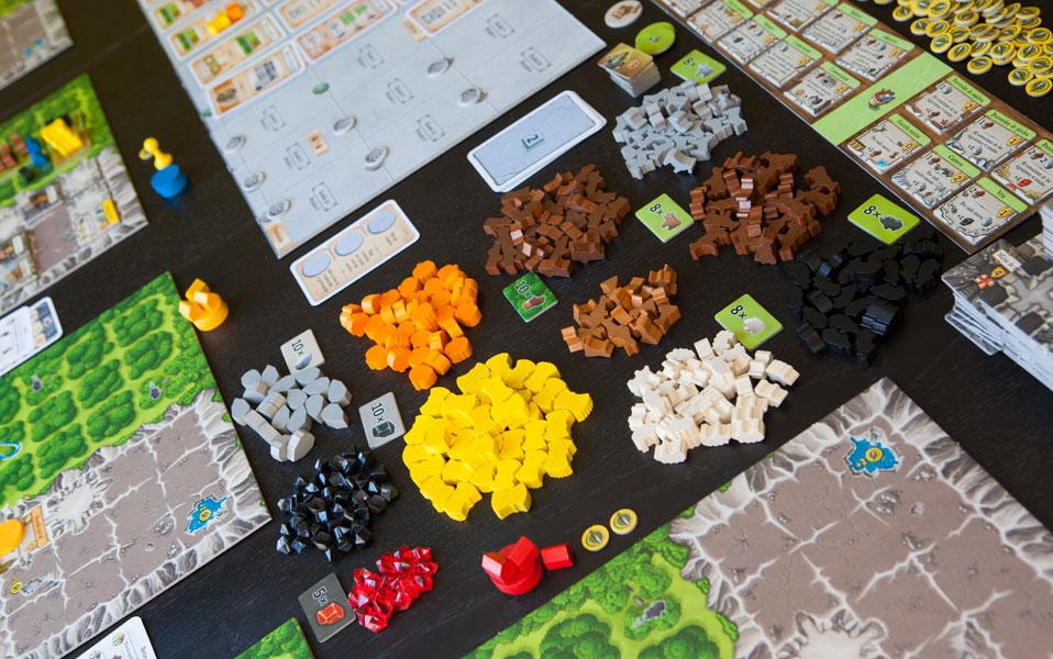 juego agricola desplegado en la mesa