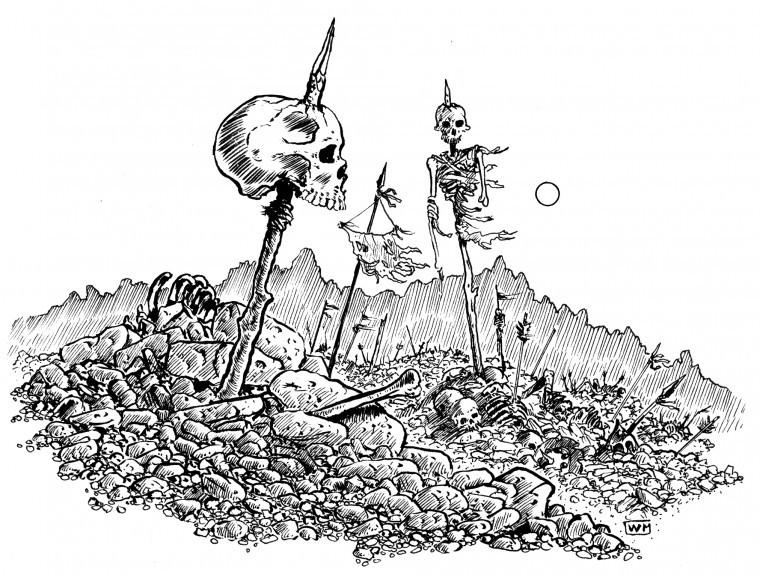 campo de batalla lleno de calaveras, dibujado por William McAusland