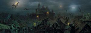 Un pueblo de noche en una ambientación de fantasía oscura