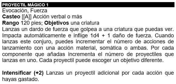 descripción del conjuro proyectil magico en pathfinder