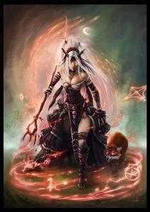 Una bruja de pathfinder lanzando un conjuro