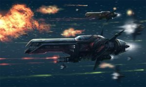 Naves espaciales atacando, por Alex Ichim